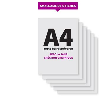 Amalgame de 6 fiches A4