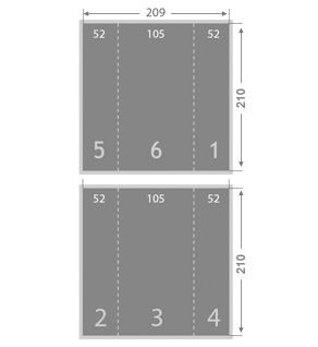 D pliant 2 plis fen tre 105x210 format carr ouvert mix media for Format fenetre