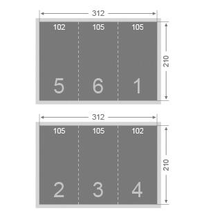 Dépliant 2 plis roulés 105x210