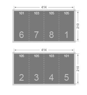 Dépliant 3 plis roulés 105x210