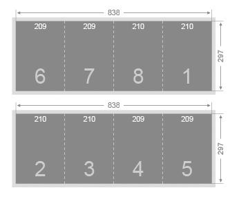 Dépliant 3 plis roulés 210x297
