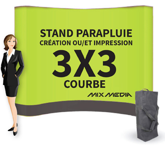 Stand Parapluie Courbe 3x3m