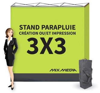 Stand parapluie droit 3x3m textile 220g mix media for Stand parapluie 3x3